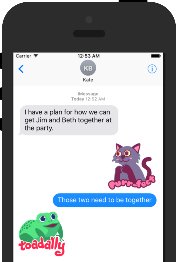 iPhone showing Pun Pal stickers in conversation.